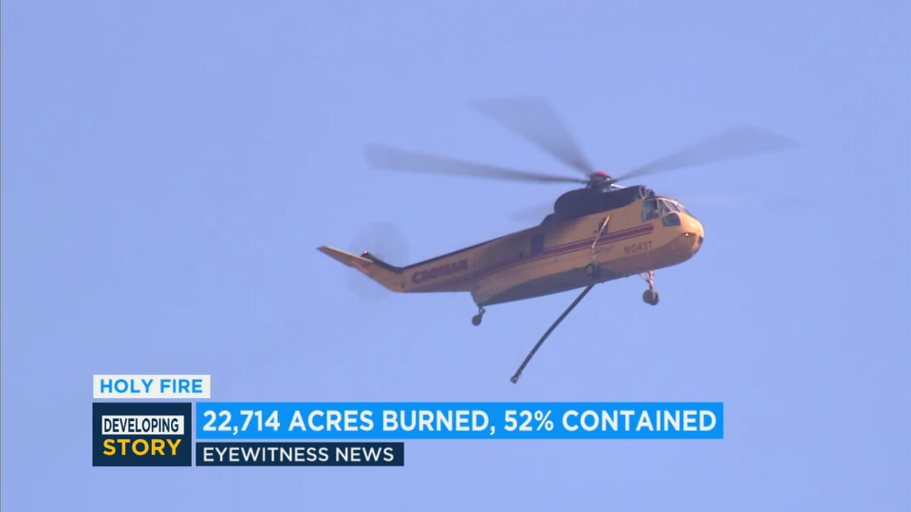 Holy Fire containment rises to 52 percent; 22,714 acres burned in Lake Elsinore-Corona area