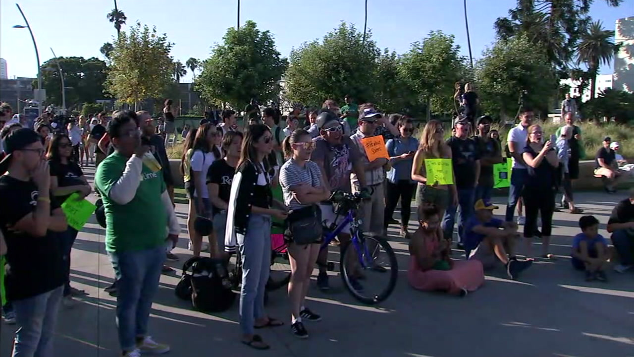 Protesters showed up in Santa Monica with dozens of them riding scooters to send a message that they like having them around.