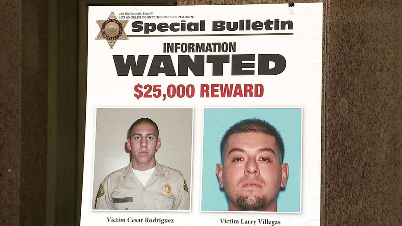 Photos of Cesar Rodriguez and his friend Larry Villegas are seen in an LASD bulletin.