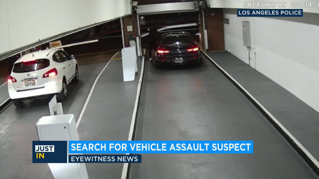 Police are looking for a man seen on video hitting a parking attendant with his car in downtown LA and fleeing after a dispute.