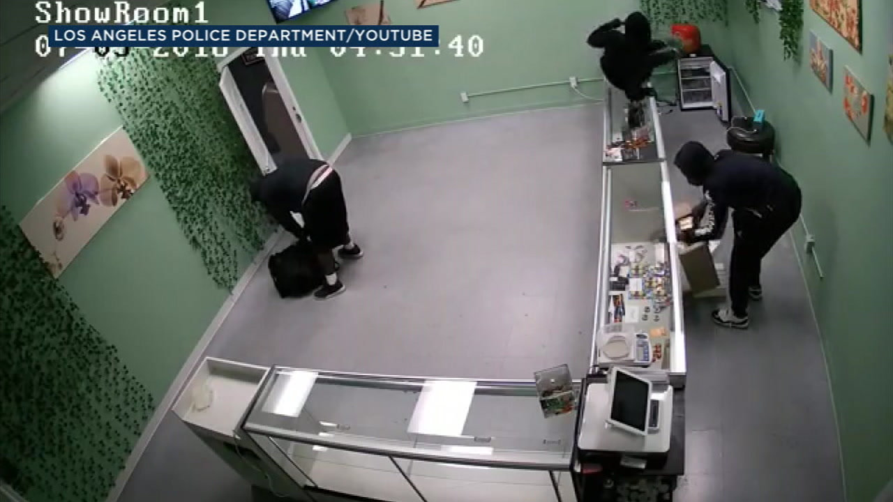 Police are searching for three burglary suspects wanted in connection with a break-in at a marijuana dispensary in Harbor City.