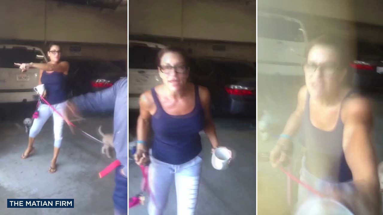 A contractor who said he was hired for a job at a Century City apartment complex recorded video of a confrontation with a woman at the location.