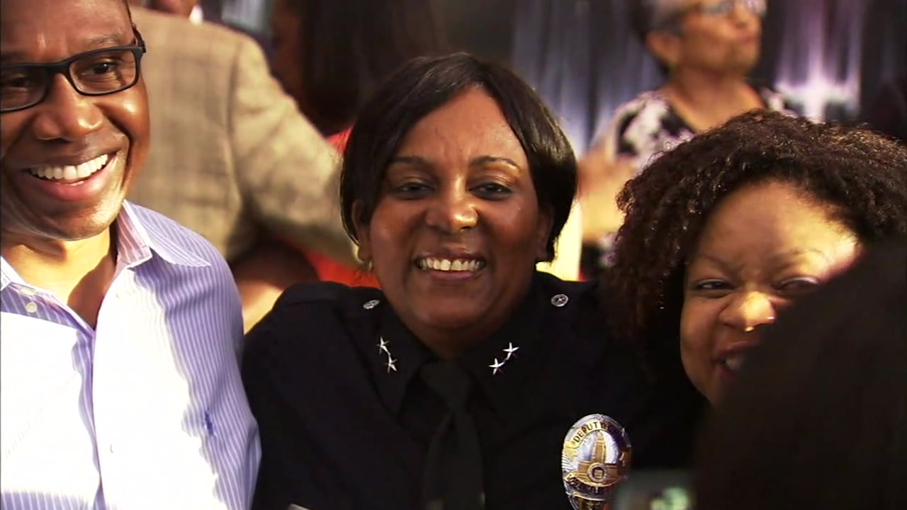 LAPD Deputy Chief Regina Scott is shown in a photo celebrating her historic promotion.