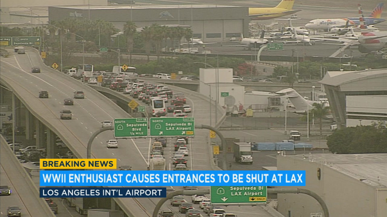 A WWII enthusiast who had two guns and replica war items near LAX raised security concerns Friday, prompting police to temporarily shut down area roads.