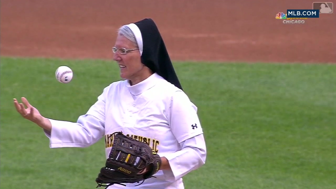 Sister Mary Jo Sobiek bounced the ball off her bicep before throwing a perfect first pitch at a White Sox game.