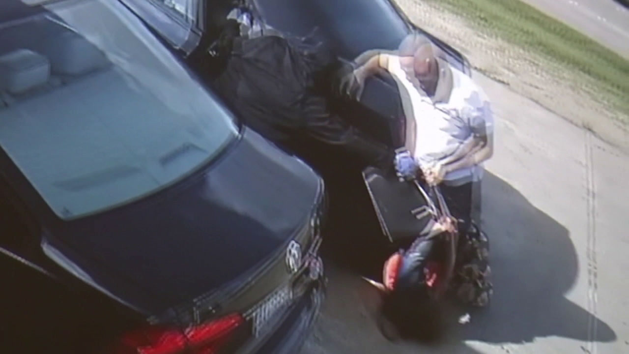 Video shows a woman being run over by a vehicle while being robbed in Houston.