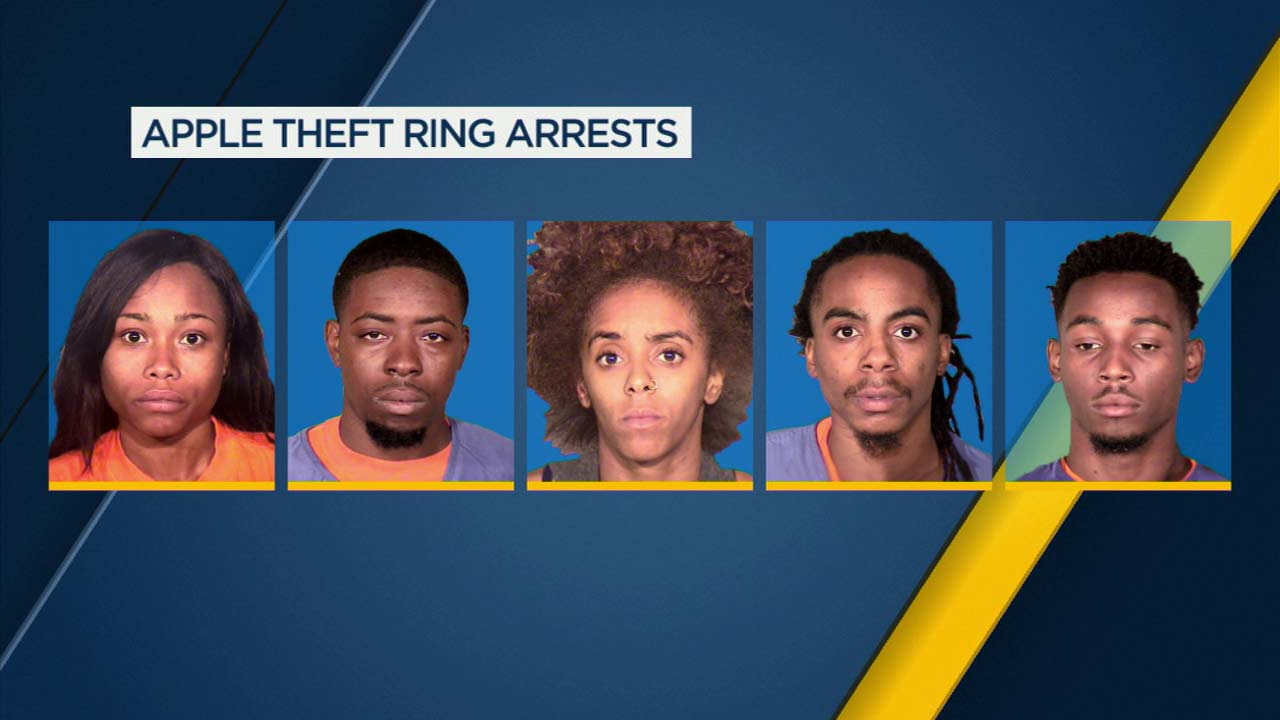 These five suspects were arrested in connection to a theft at an Apple store in Thousand Oaks.