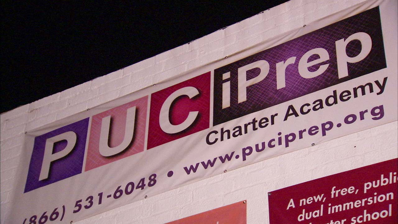 A sign for the PUC iPrep Charter Academy is seen in Eagle Rock.