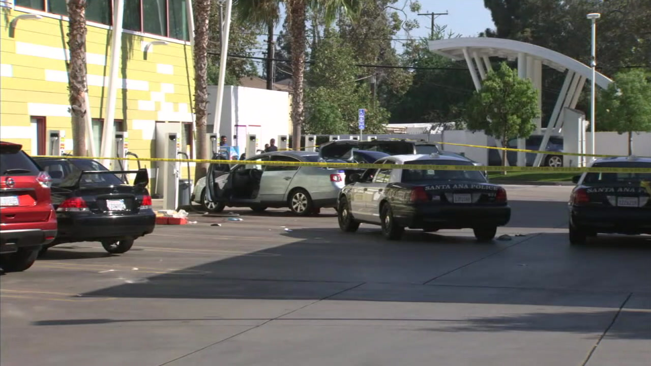 The scene of a fatal officer-involved shooting in Santa Ana at a car wash is shown in a photo.