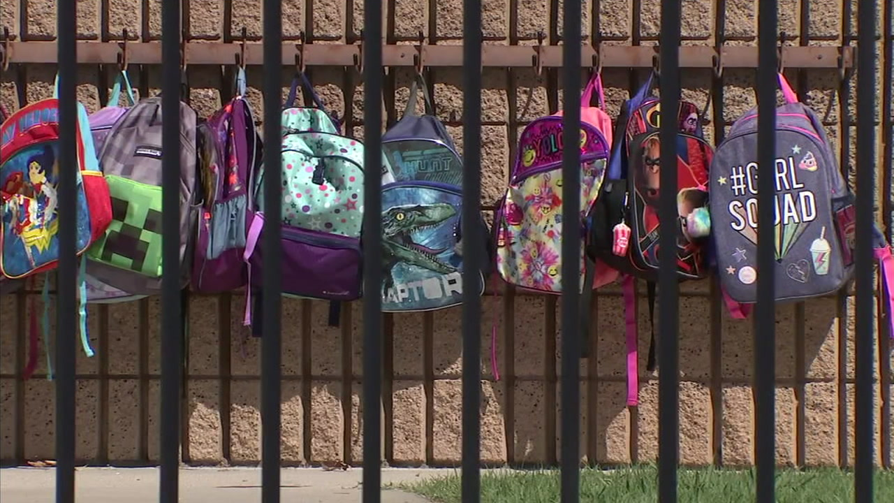 Childrens backpacks are shown at a school where one of the students committed suicide in Rancho Cucamonga.