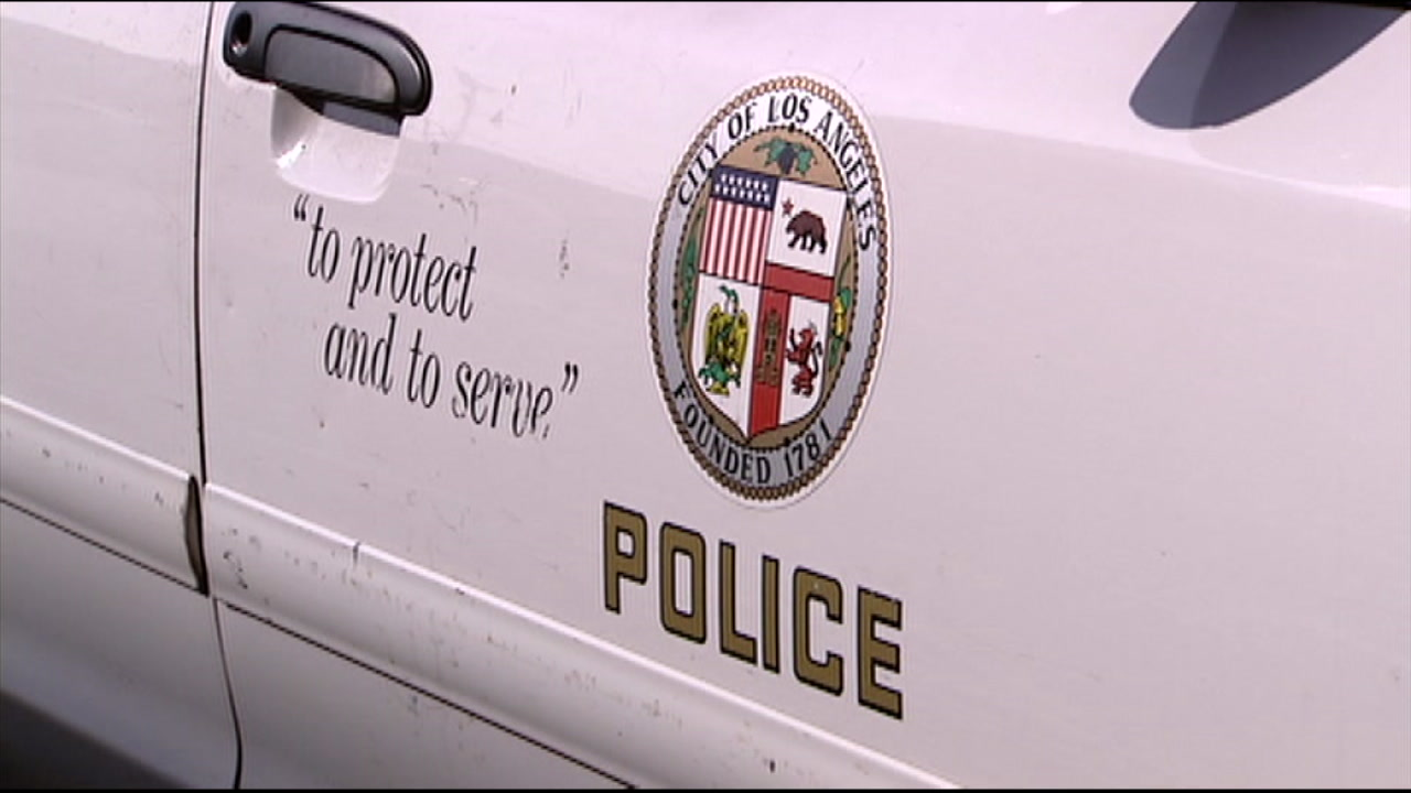 A Los Angeles Police seal and phrase is shown in a file photo.