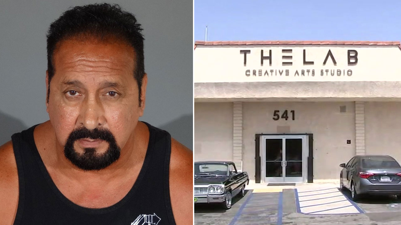 Eddie Ramirez, 62, a kickboxing coach in West Covina, is shown in a mugshot, alongside a photo of the popular dance studio where he worked.