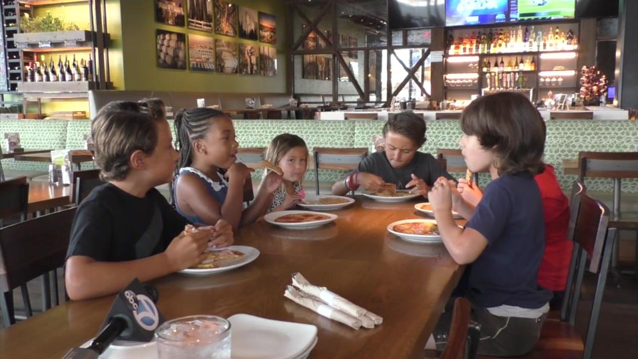 Kids got a chance to taste-test some cauliflower crust at California Pizza Kitchen in Century City.