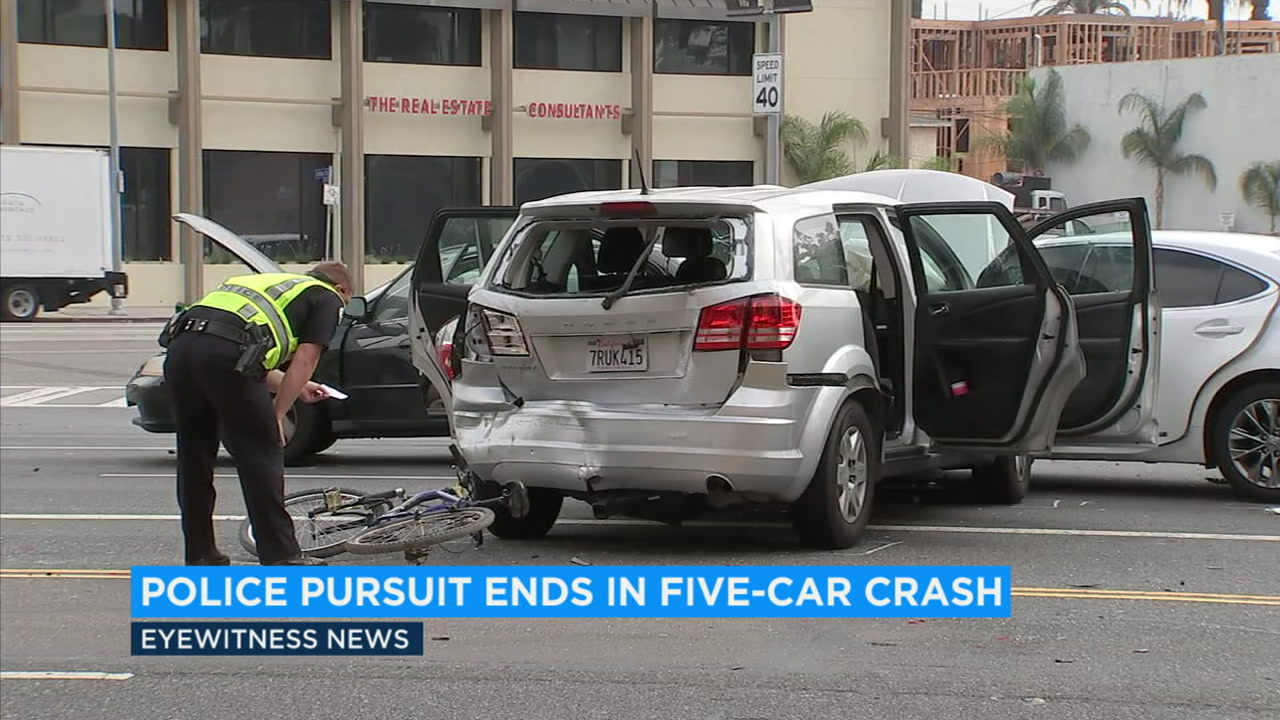 A police chase Tuesday morning ended in a multi-vehicle crash in Westchester with two suspects in custody and no serious injuries.