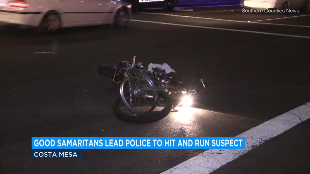 A 15-year old girl and her father helped Costa Mesa police catch a hit-and-run driver who struck a motorcyclist.