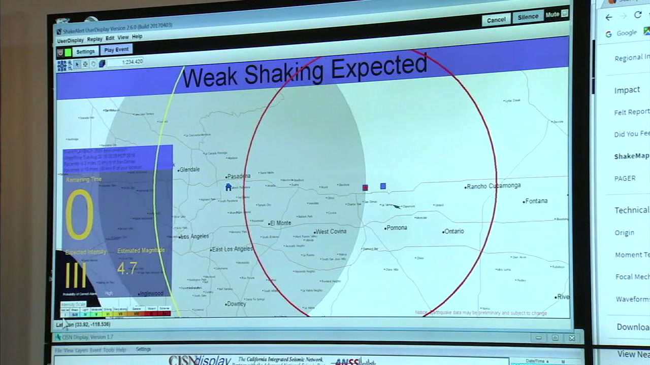 An image shows a prototype early-warning earthquake system at Caltech that worked when the 4.4-magnitude quake and aftershocks struck La Verne.