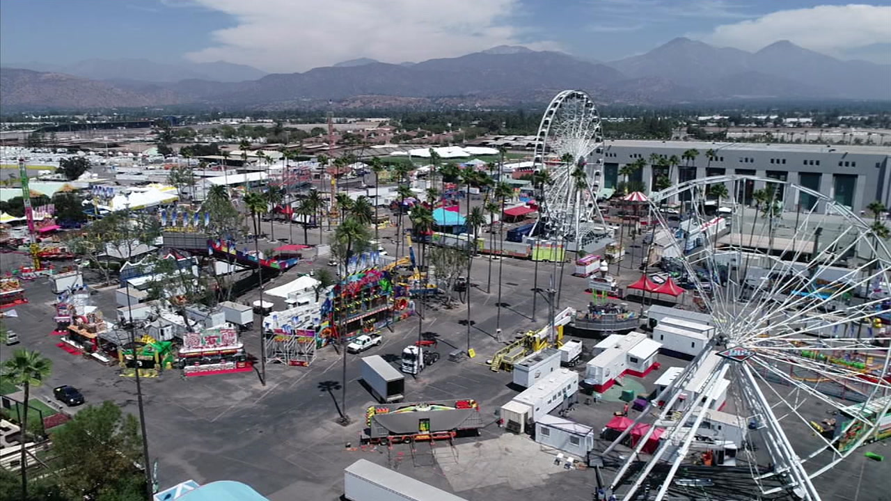 The Los Angeles County Fair is shown being set up at the Pomona Fairplex two days before it opens to the public.