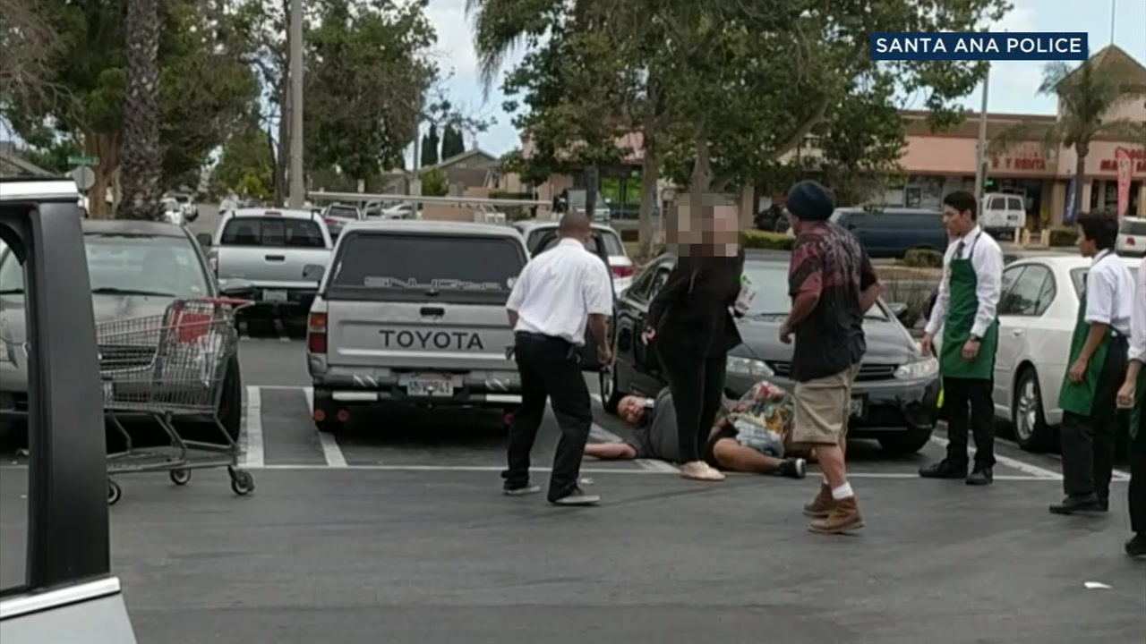 A one-punch takedown at a Santa Ana Stater Bros. supermarket parking lot was caught on camera.