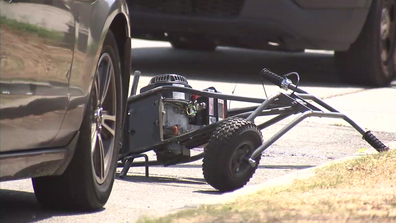 A motorized scooter is shown at the scene of a fatal crash in South Los Angeles on Saturday, Sept. 1, 2018.