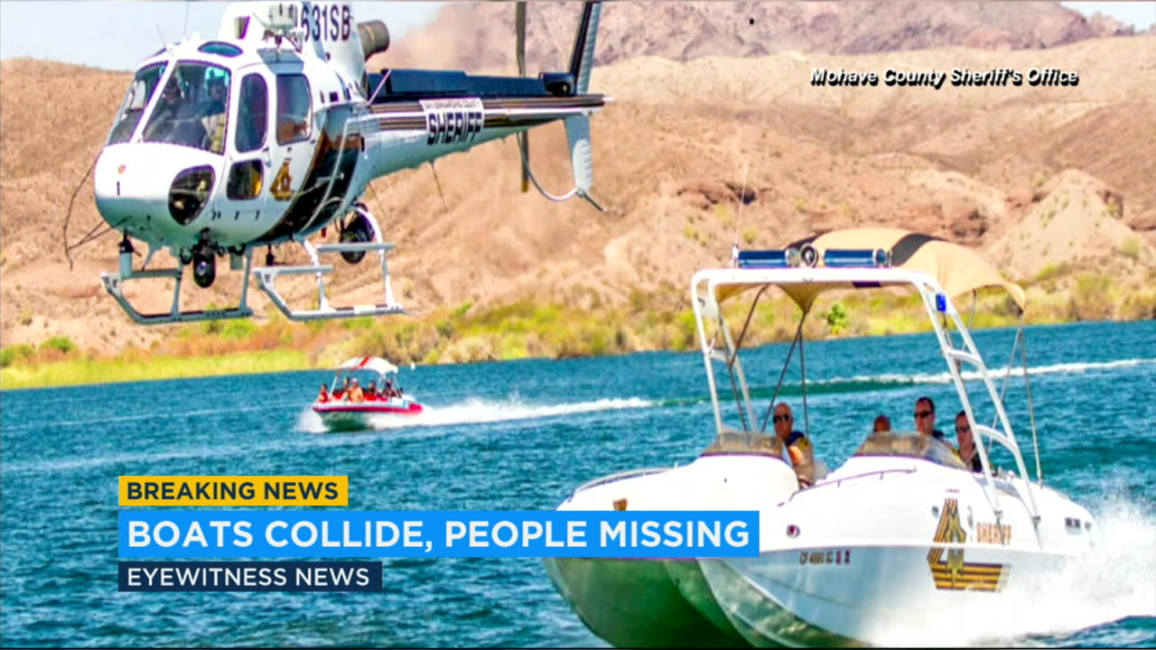 Two recreational boats collided head-on in a stretch of the Colorado River marking the California border with Arizona that was crowded with people enjoying the Labor Day weekend.