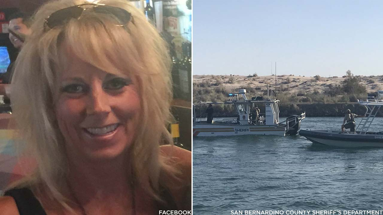 (Left) Christine Lewis, 51 from Visalia, is seen in a Facebook photo. (Right) Law enforcement officials are seen along the Colorado River following a boat crash on Saturday, Sept. 1, 2018.