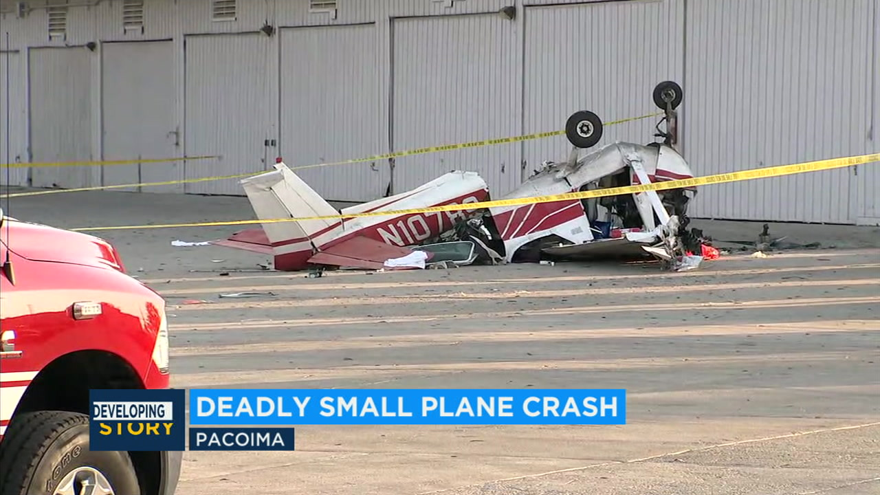 A 60-year-old man died and a 12-year-old boy was critically injured after a small plane they were in crashed at Whiteman Airport in Pacoima.
