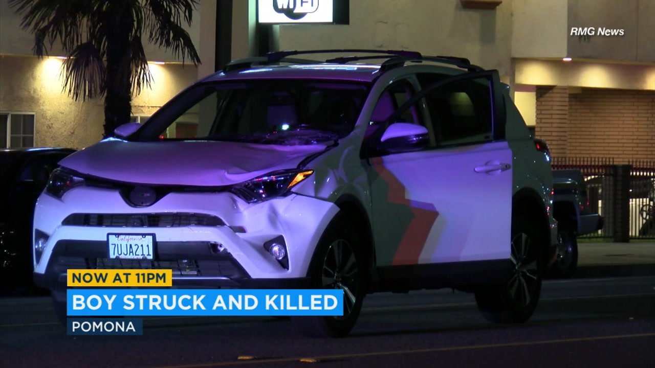 A 12-year-old boy stepped into lanes of traffic and was fatally struck by a car in Pomona, police said.