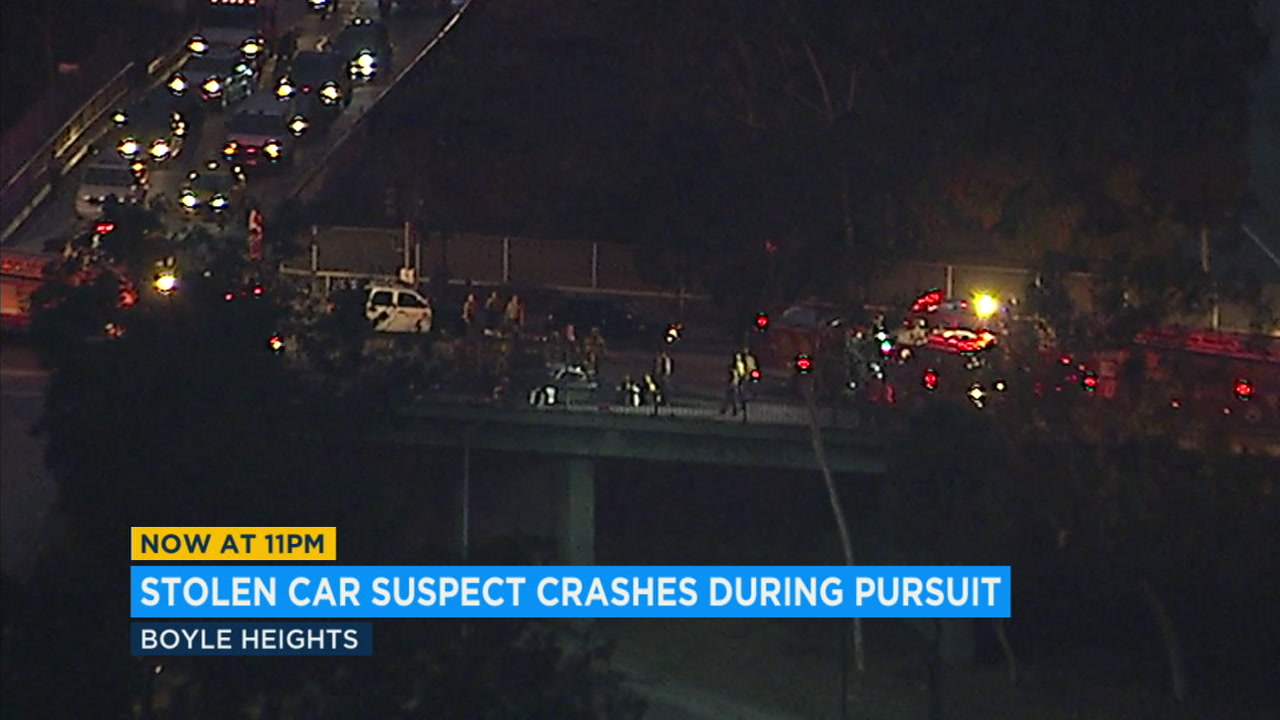 A pursuit Monday through the streets of East Los Angeles ended with a crash in Boyle Heights.