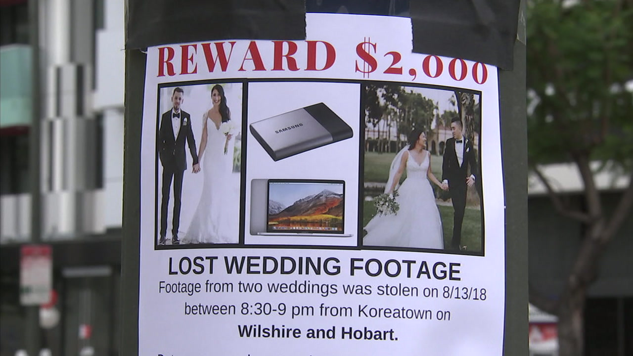 All of the wedding video footage for at least two Southern California couples was stolen from a videographers car parked in the mid-Wilshire area.