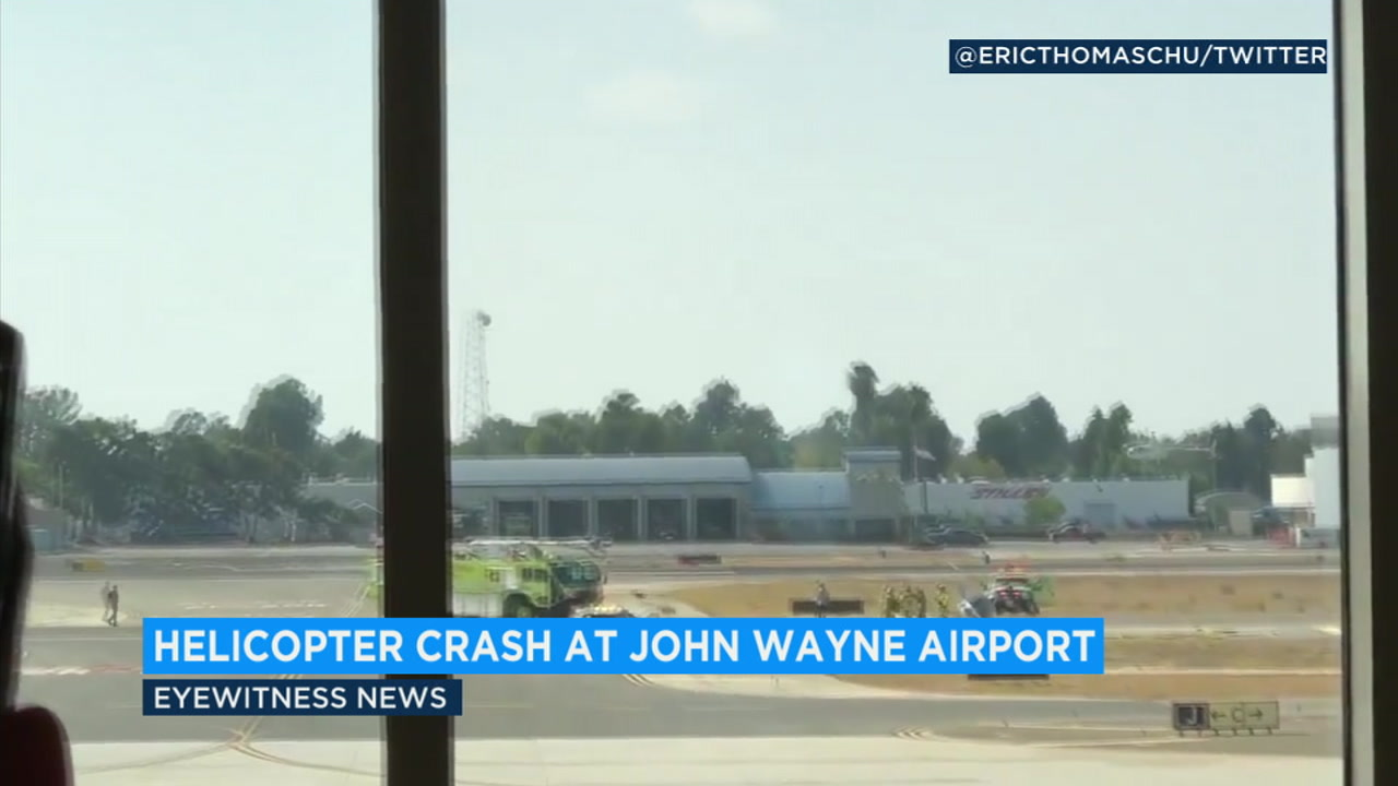 Two people onboard a helicopter that crashed at John Wayne Airport were left uninjured, authorities say.