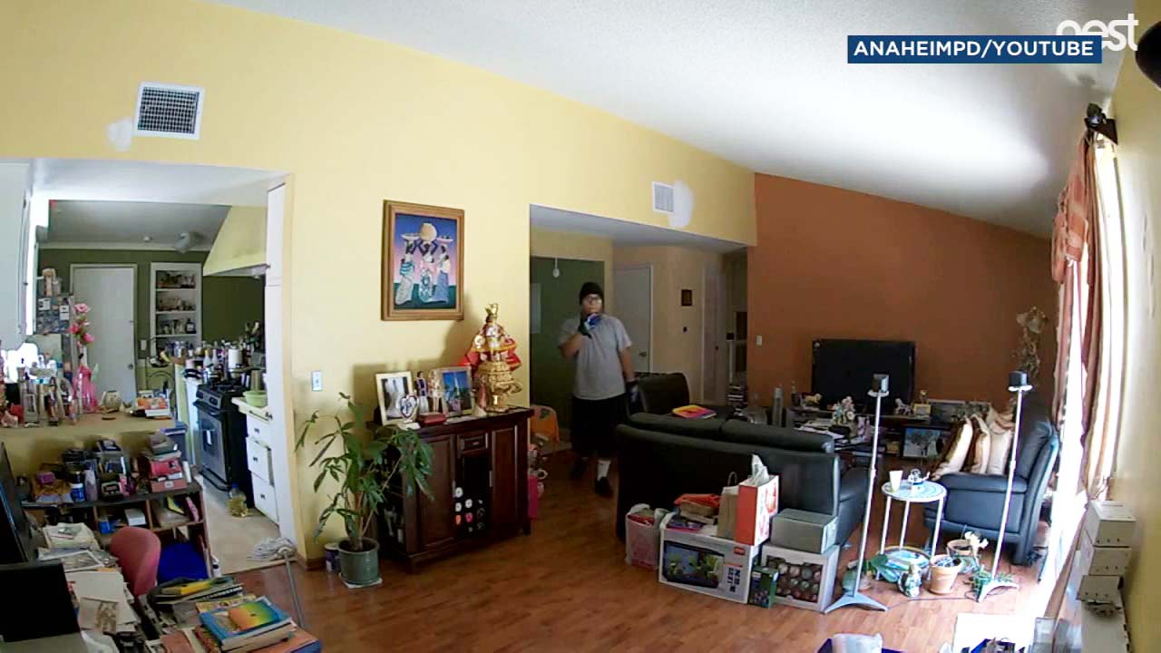 A burglary suspect is seen on surveillance video inside a residence in Anaheim.