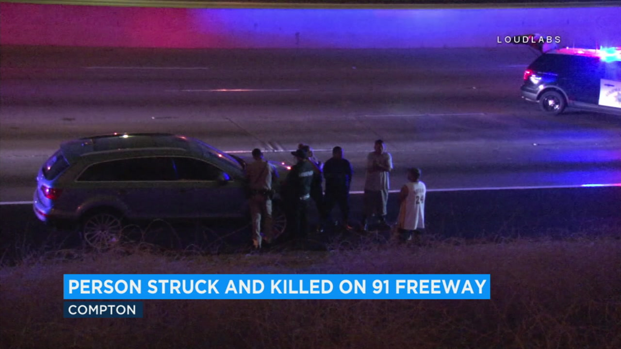 One person is dead after being struck by a vehicle on the eastbound side of the 91 Freeway in Compton.