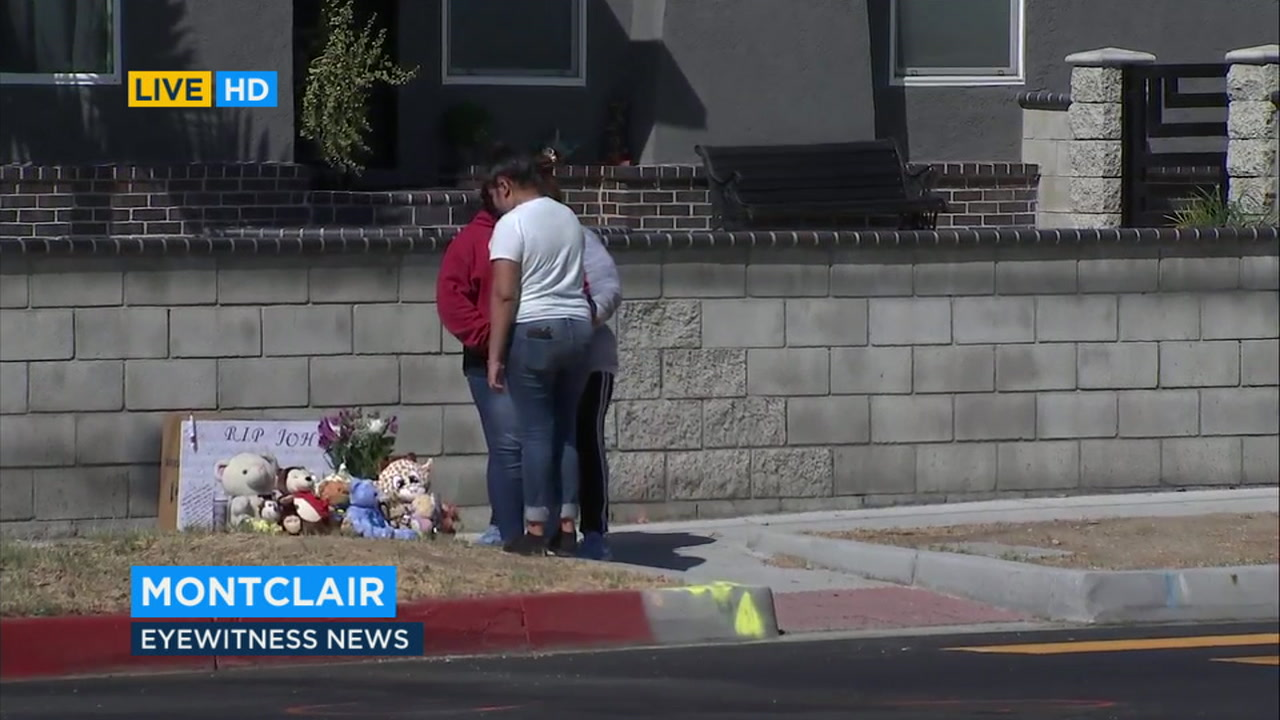 Friends gathered near an impromptu memorial for an 11-year-old boy who died Thursday after being struck by a vehicle in Montclair.