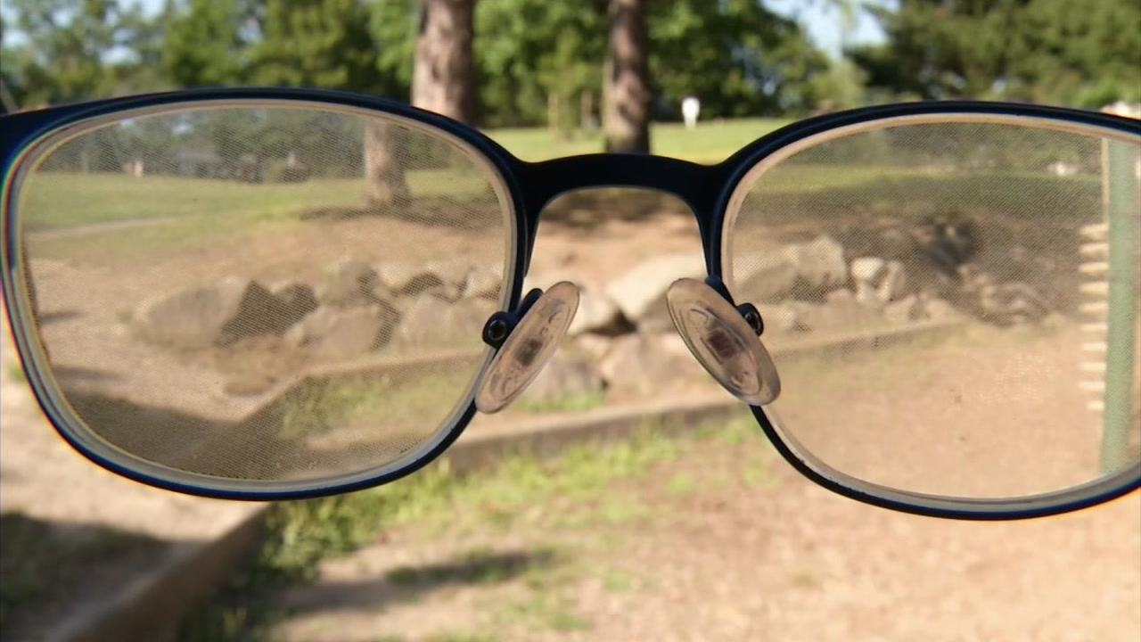 An undated photo of prescription glasses that help treat myopia.