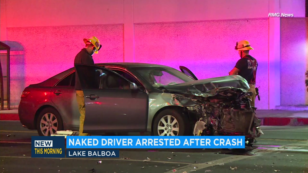 A naked driver is behind bars after crashing into two other cars in Lake Balboa Thursday morning.