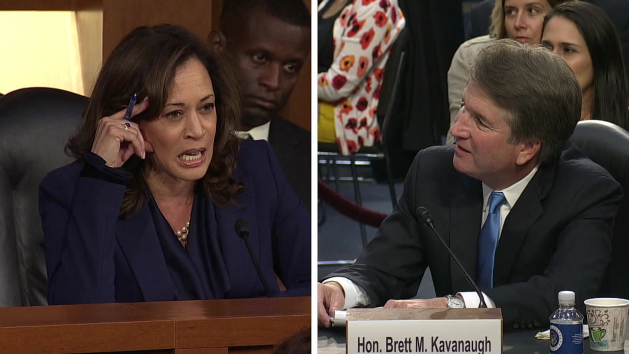 Sen. Kamala Harris questions Supreme Court nominee Brett Kavanaugh in the evening of the second day of his Senate Judiciary Committee confirmation hearing, Sept. 5, 2018.