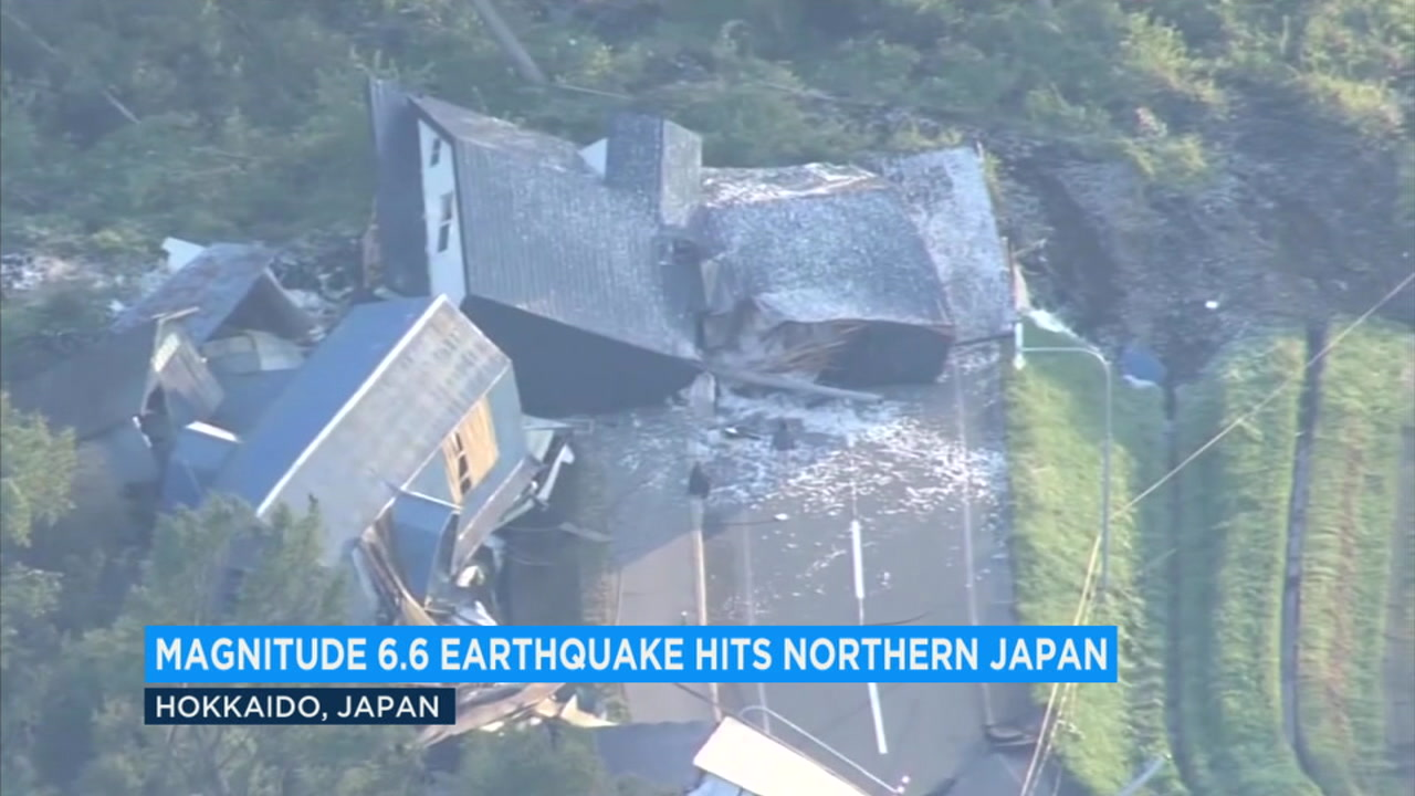 Aerial images show damage from a powerful earthquake that struck Japans northernmost main island of Hokkaido.
