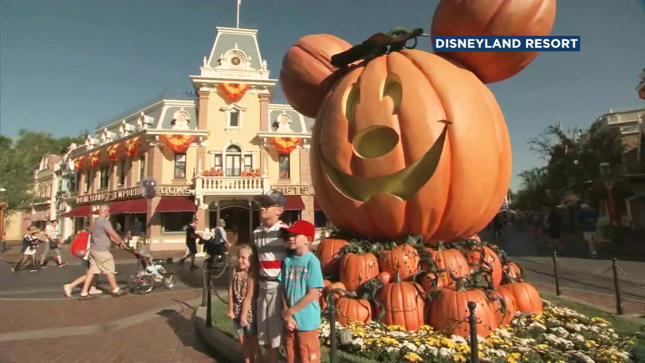 People pose in front of a pumpkin display in Disneyland.