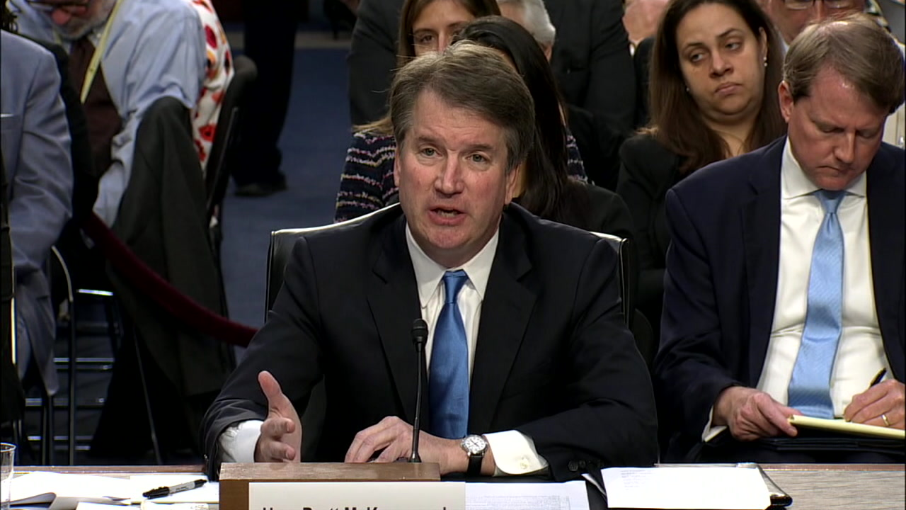 A photo of Supreme Court nominee Brett Kavanaugh during a confirmation hearing on Friday, Sept. 7, 2018.