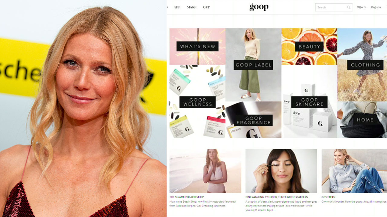 This Feb. 1, 2014 photo shows American actress Gwyneth Paltrow at the Goldene Kamera media awards in Berlin. Another photo shows Paltrows website for her lifestyle brand Goop.