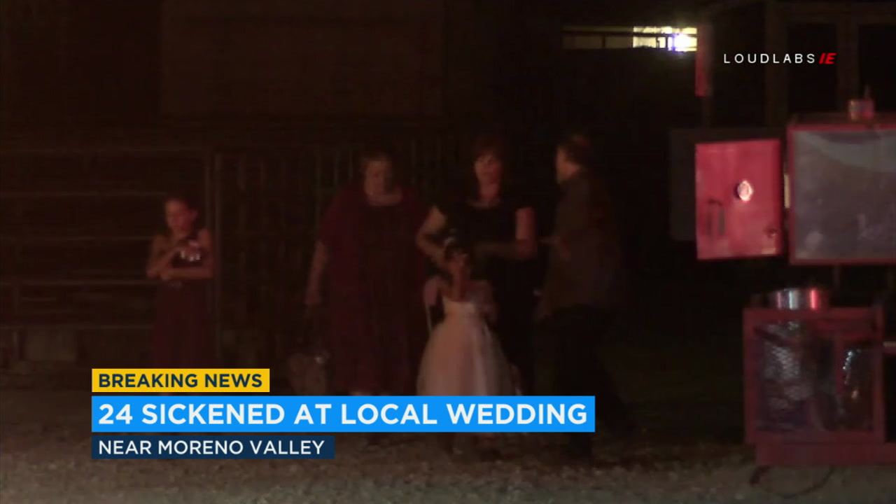Several people were transported by ground ambulance after becoming sick at a wedding venue north of Moreno Valley Saturday night.