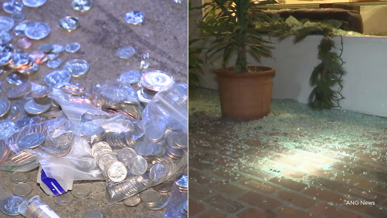A smash-and-grab burglary in Beverly Hills early Monday left shattered glass on the premises, as well as dozens of coins and a jewelry box dumped on the street.