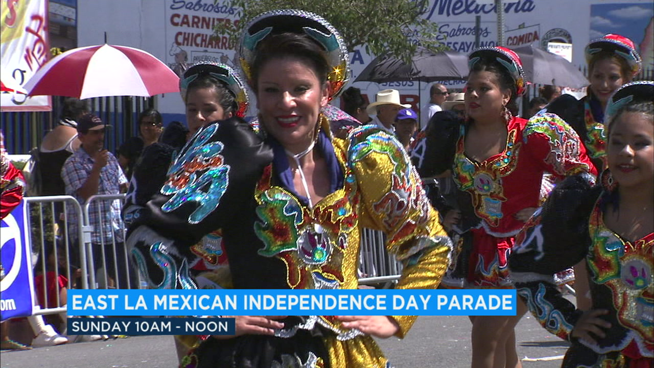 A Mexican Independence Day dancer is shown in old footage from a previous parade.