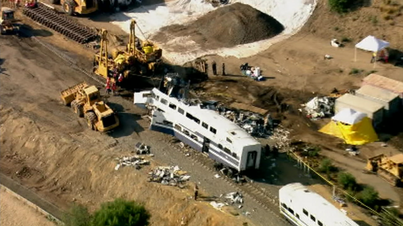 A scene from the fatal Metrolink crash 10 years ago that killed 25 people and injured more than 100.