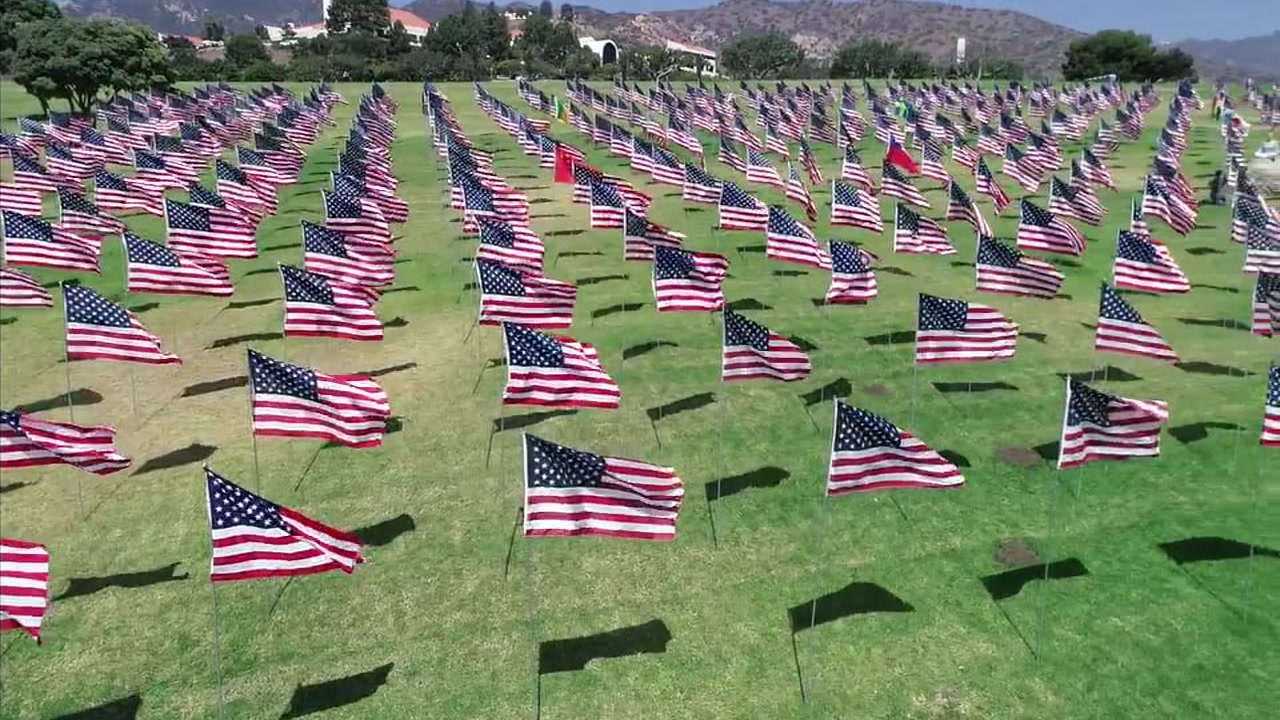 The Waves of Flags memorial at Pepperdine University is seen in this undated photo.