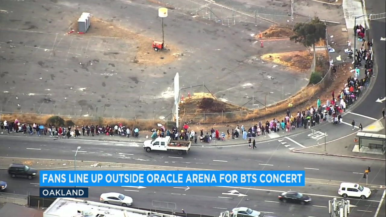 Hundreds of fans of the South Korean boy band BTS started camping out Monday night for a Wednesday night concert at Oaklands Oracle Arena.