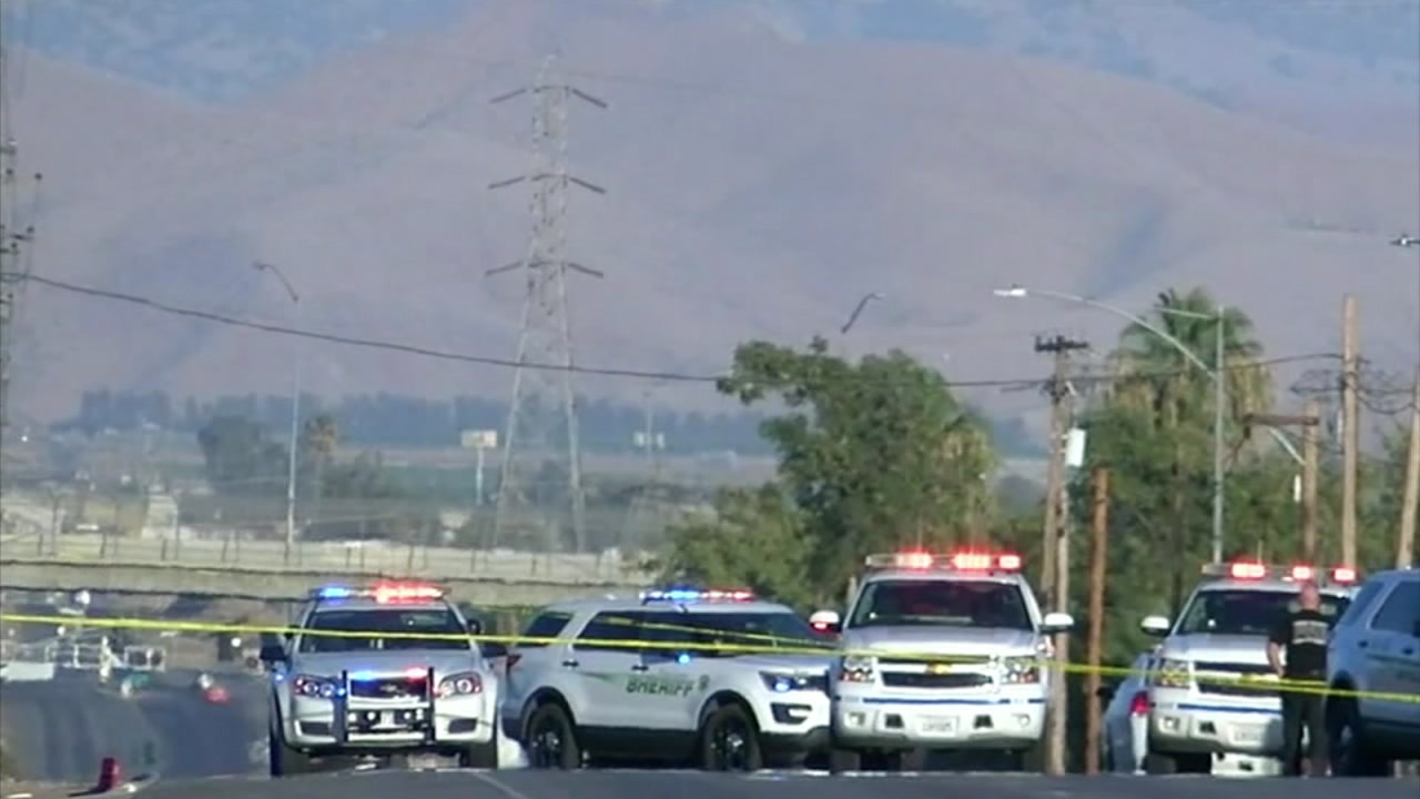 The scene of a mass shooting in Bakersfield is shown in a photo.