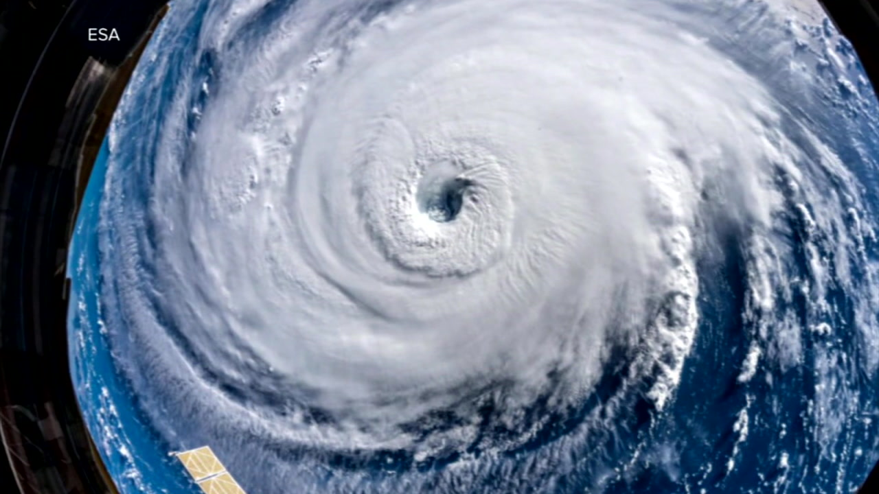 The eye of Hurricane Florence is shown in a satellite image.