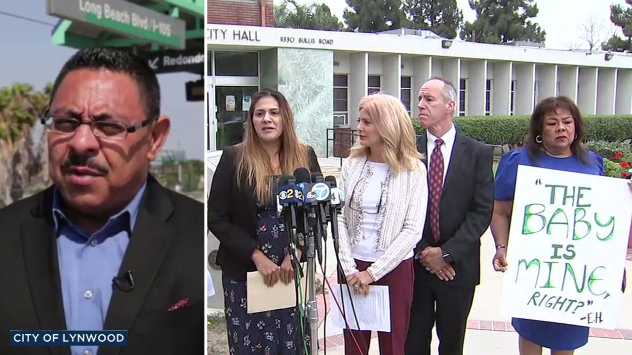 A split photo shows an alleged sexual harassment victim announcing legal action against Edwin Hernandez (left) and the city of Lynwood on Wednesday, Sept. 12, 2018.