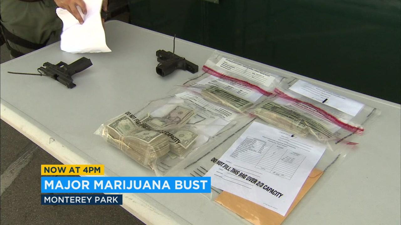 Deputies seized cash, guns and drugs in raids of 13 marijuana dispensaries in East Los Angeles.